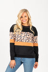 The Skill Animal Print Mix Crew Neck in Black, studio shoot; front view