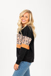The Skill Animal Print Mix Crew Neck in Black, studio shoot; side view