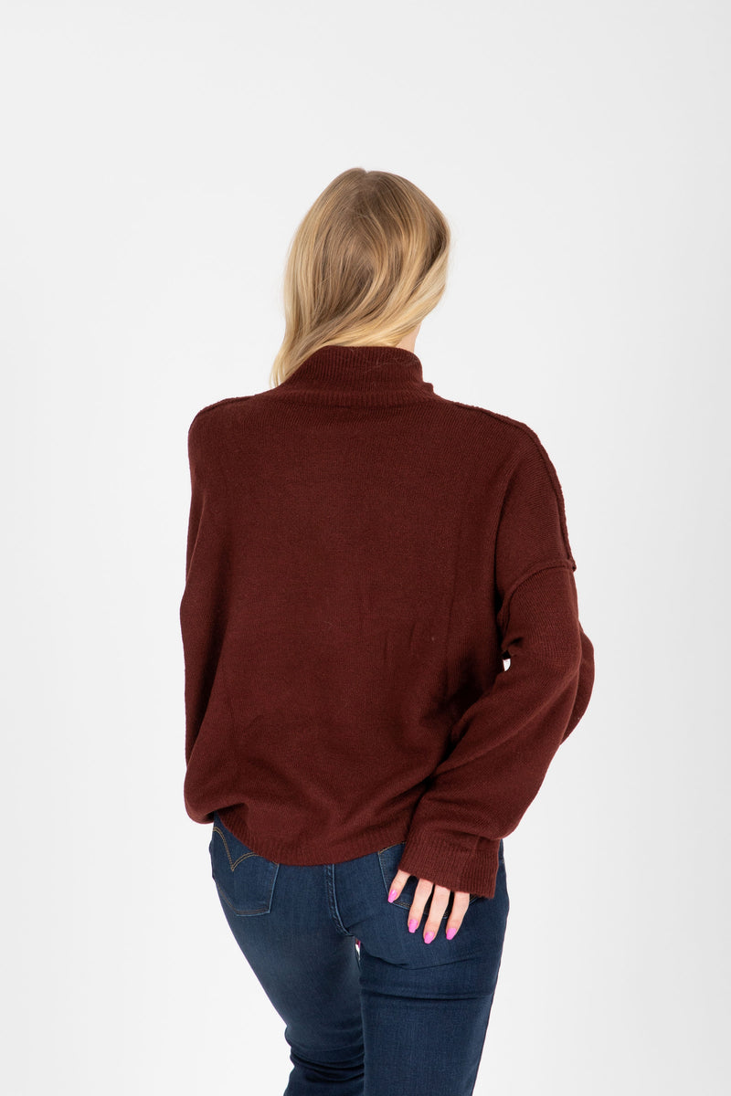 The Fay Soft Turtleneck Sweater in Burgundy, studio shoot; back view