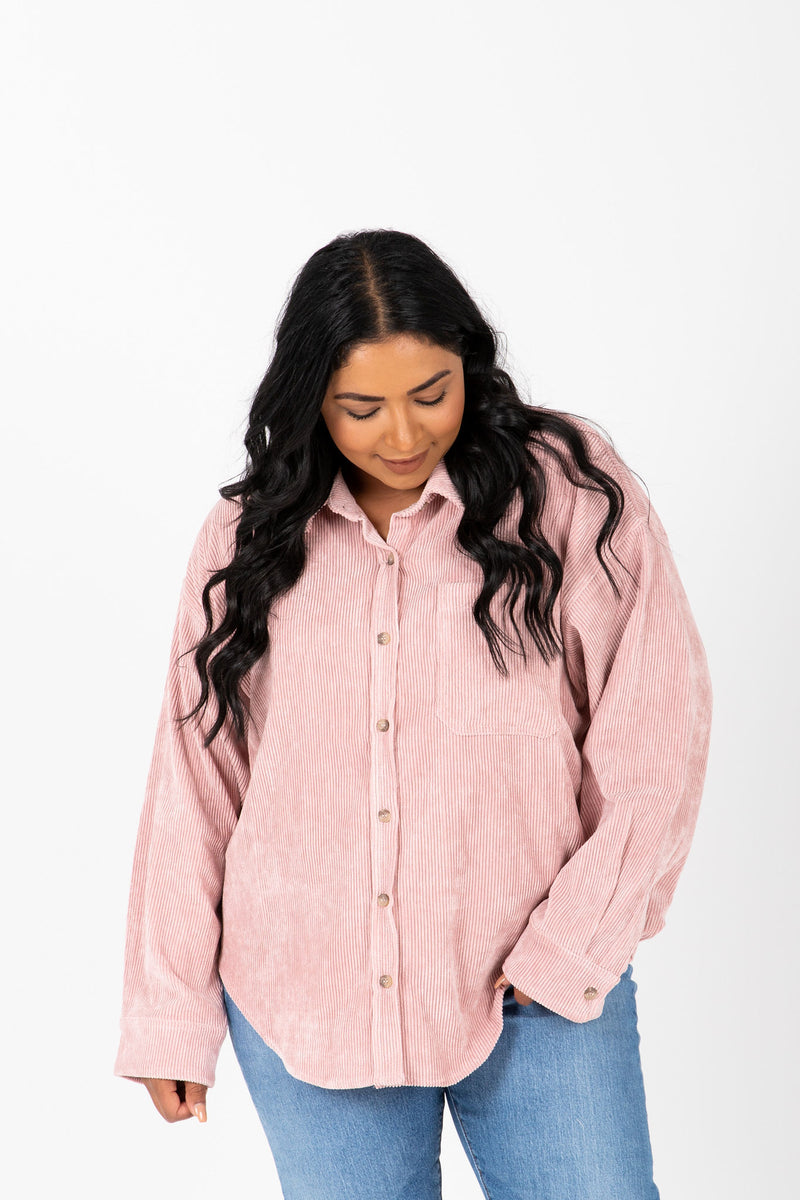 The Ben Corduroy Button Up Shirt in Mauve