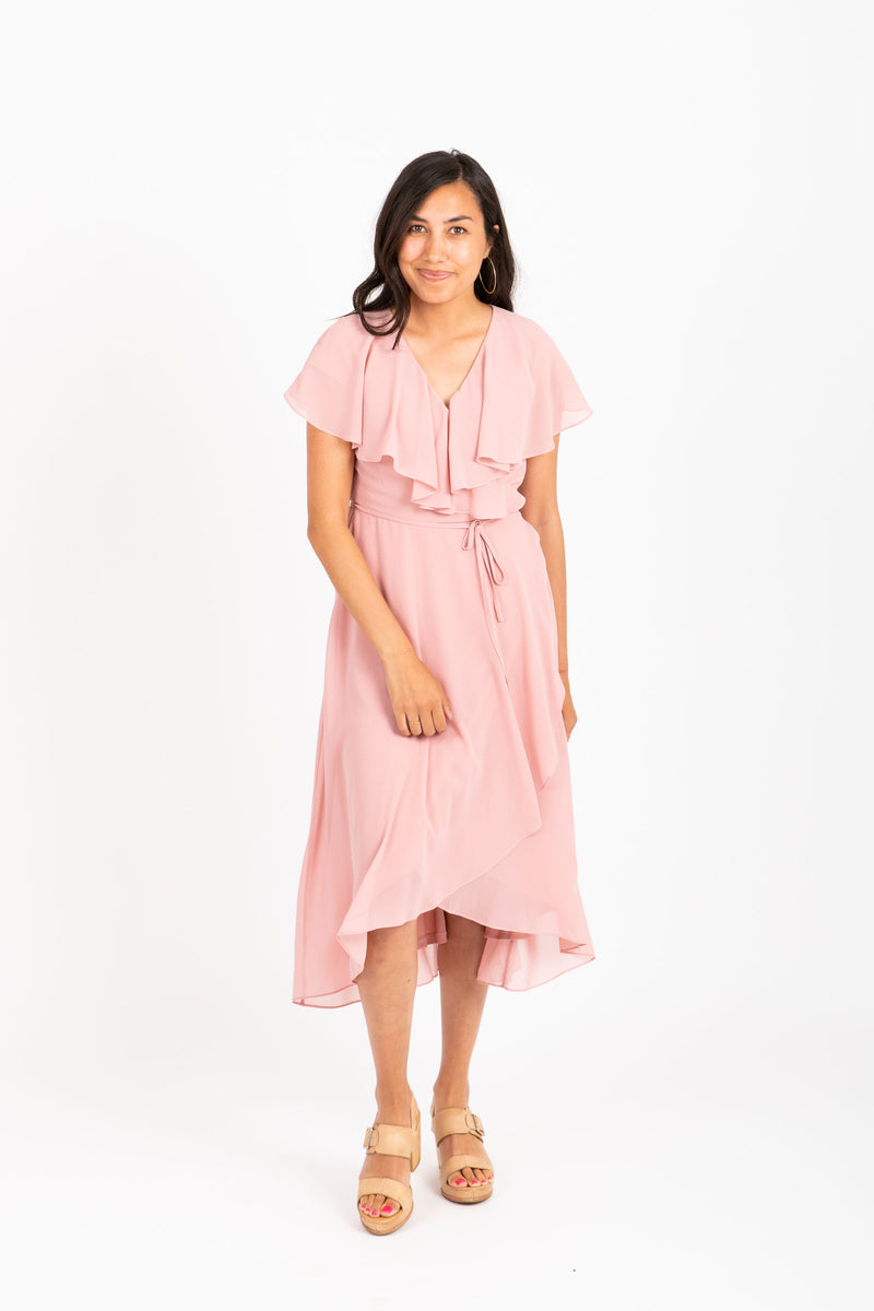Piper & Scoot: The Wendy Flutter Wrap Dress in Blush