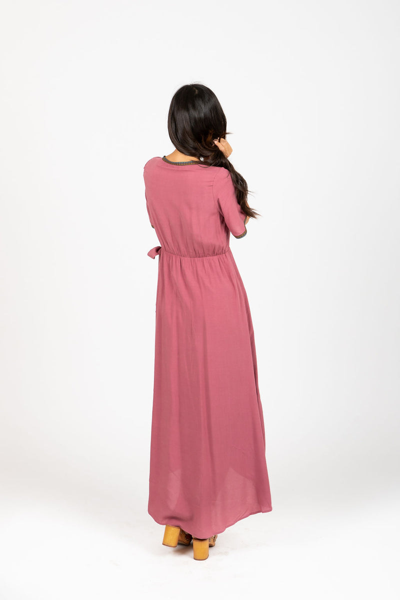 Piper & Scoot: The Presley Detail Wrap Dress in Deep Mauve, studio shoot; back view
