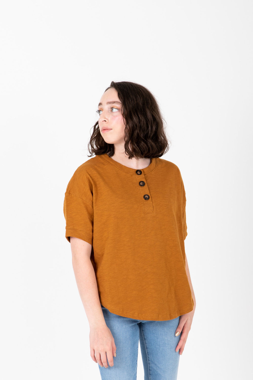 The Eline Casual Button Blouse in Camel, studio shoot; front view