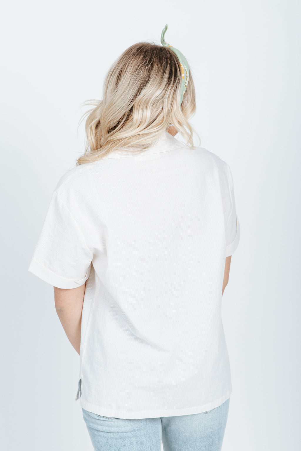 The Henri Pinstripe Button Up in Cream, studio shoot;back view
