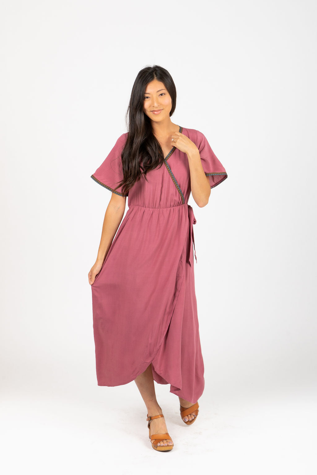 Piper & Scoot: The Presley Detail Wrap Dress in Deep Mauve, studio shoot; front view