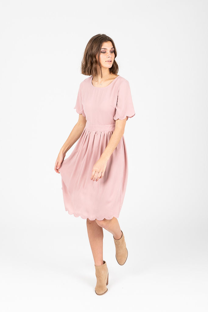 2dcb67b592f73 The Stephanie Scallop Sleeve Dress in Blush – Piper   Scoot