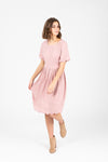 The Stephanie Scallop Sleeve Dress in Blush