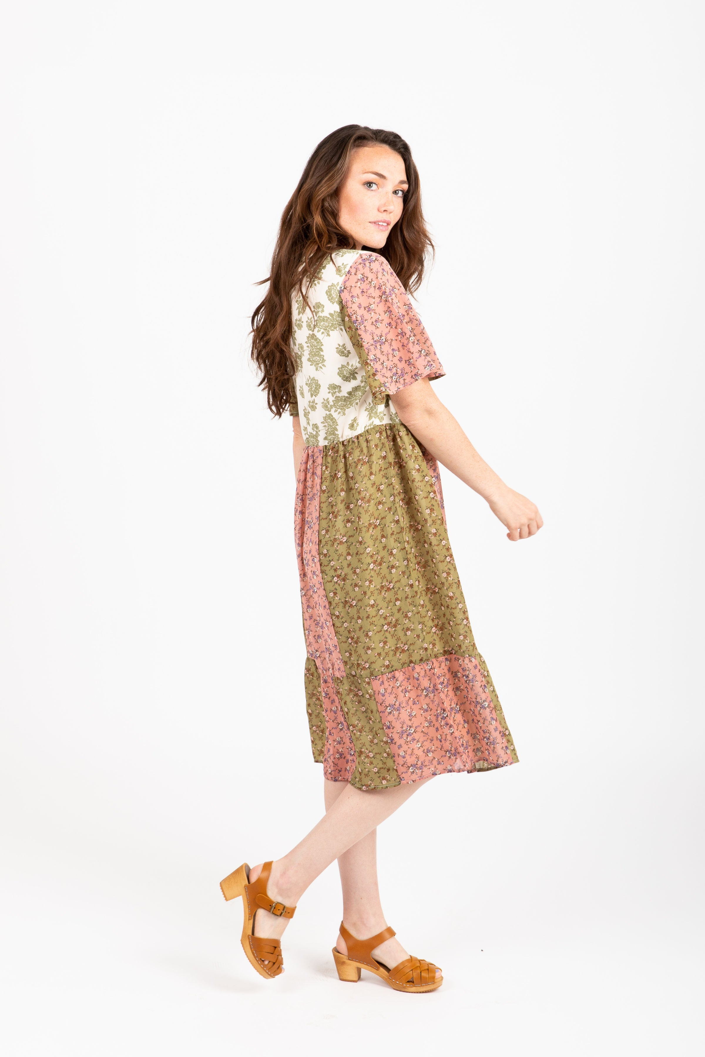 Piper & Scoot: The Muriel Mixed Floral Dress in Sage