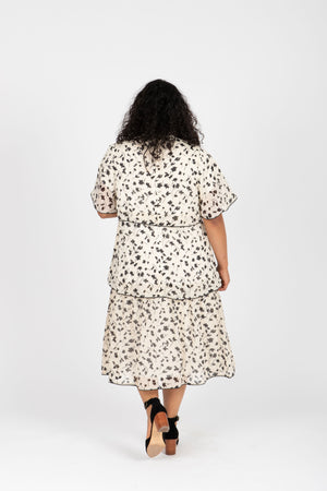 Piper & Scoot: The Helen Tiered Patterned Dress in Ivory, studio shoot; back view