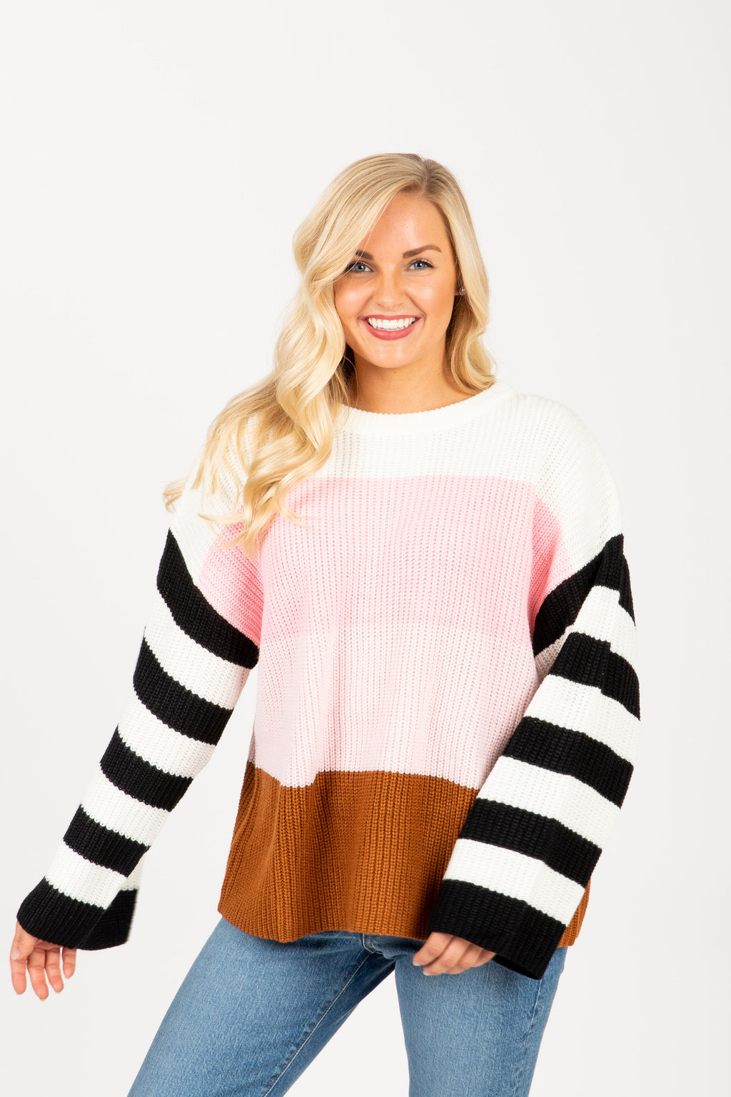 The Rise Striped Contrast Sweater in Blush Multi, studio shoot; front view