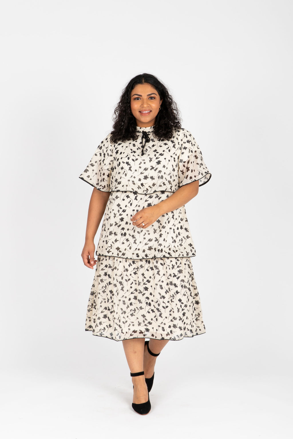 Piper & Scoot: The Helen Tiered Patterned Dress in Ivory, studio shoot; front view