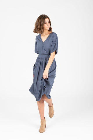 The Laramie Button Bib Patterned Dress in Grey