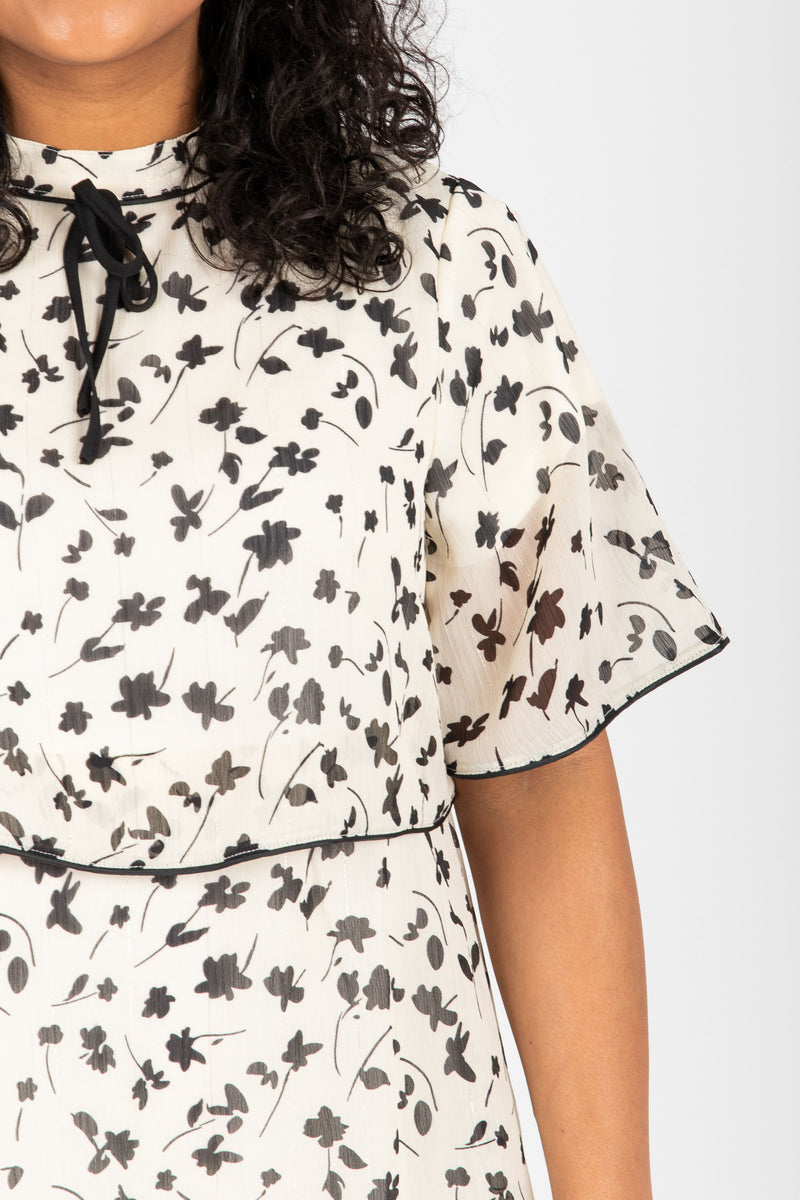 Piper & Scoot: The Helen Tiered Patterned Dress in Ivory, studio shoot; closer up front view