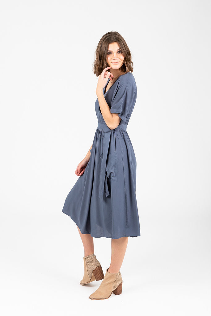 The Kati Wrap Pocket Dress in Slate