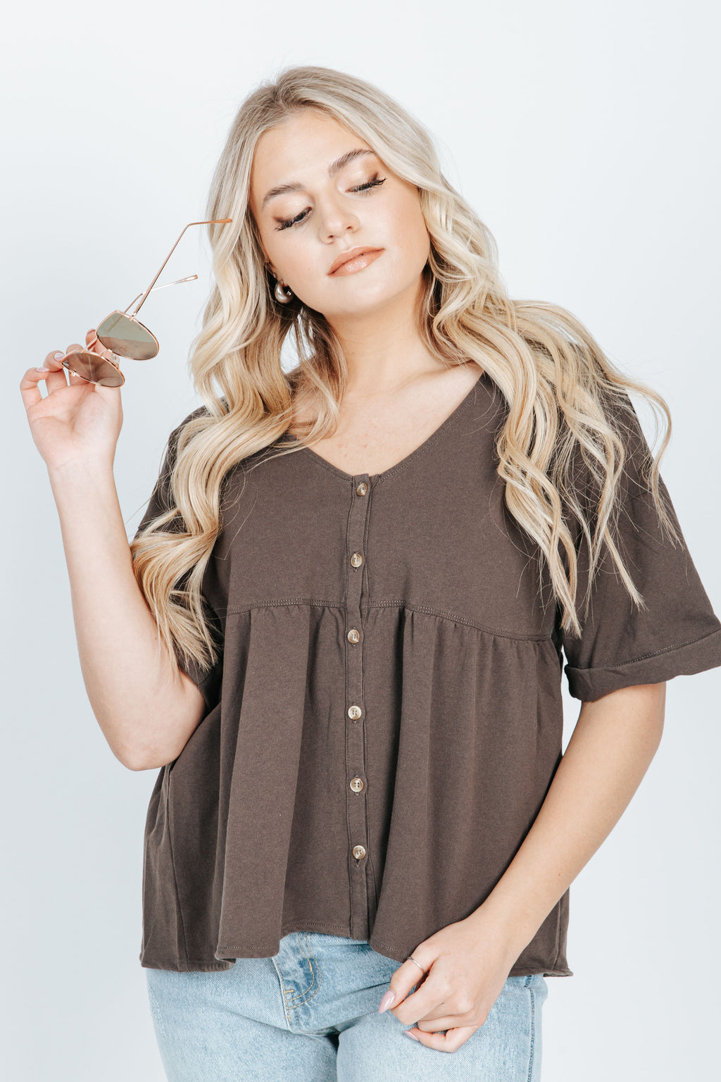 The Caroline Button Front Blouse in Charcoal, studio shoot; front view
