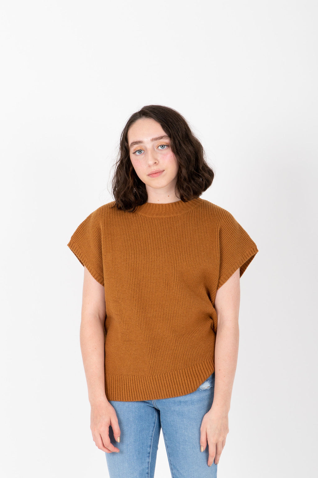The Rook Short Sleeve Knit in Camel, studio shoot; front view