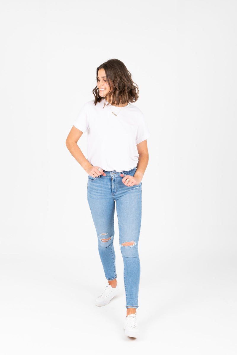 Levi's: 721 High Rise Skinny Jeans in Azure Glow Light Wash