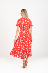 The Mamba Floral Collared Dress in Red