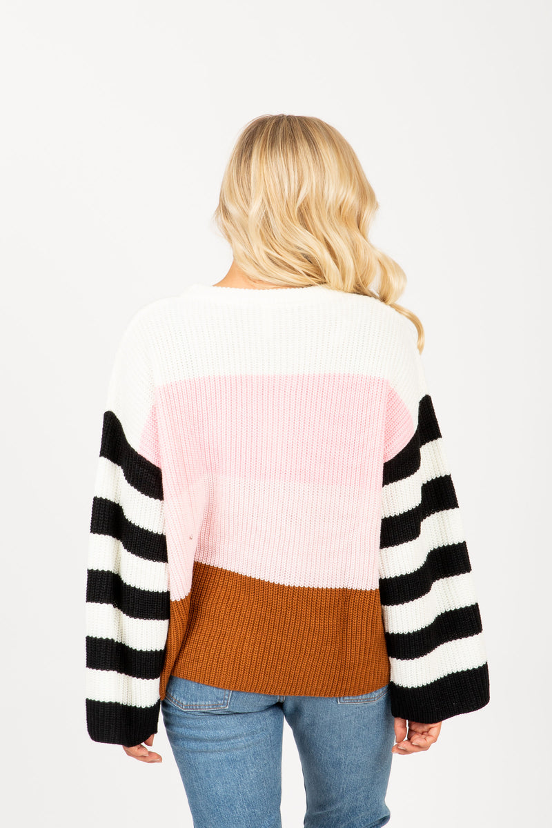 The Rise Striped Contrast Sweater in Blush Multi, studio shoot; back view