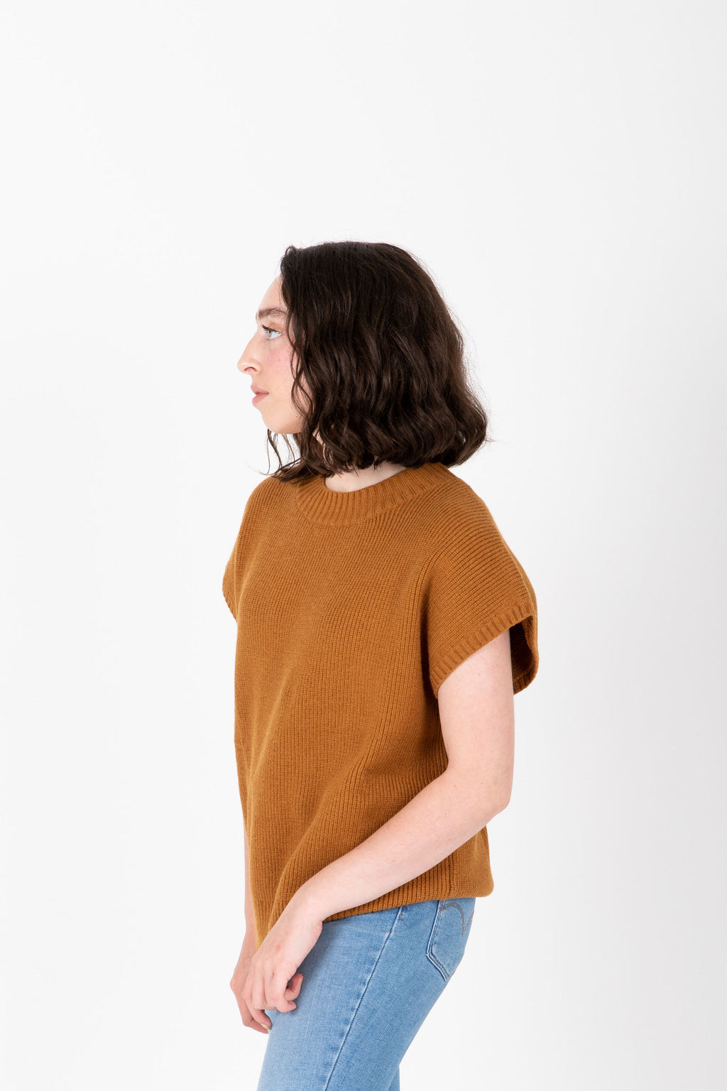 The Rook Short Sleeve Knit in Camel, studio shoot; side view