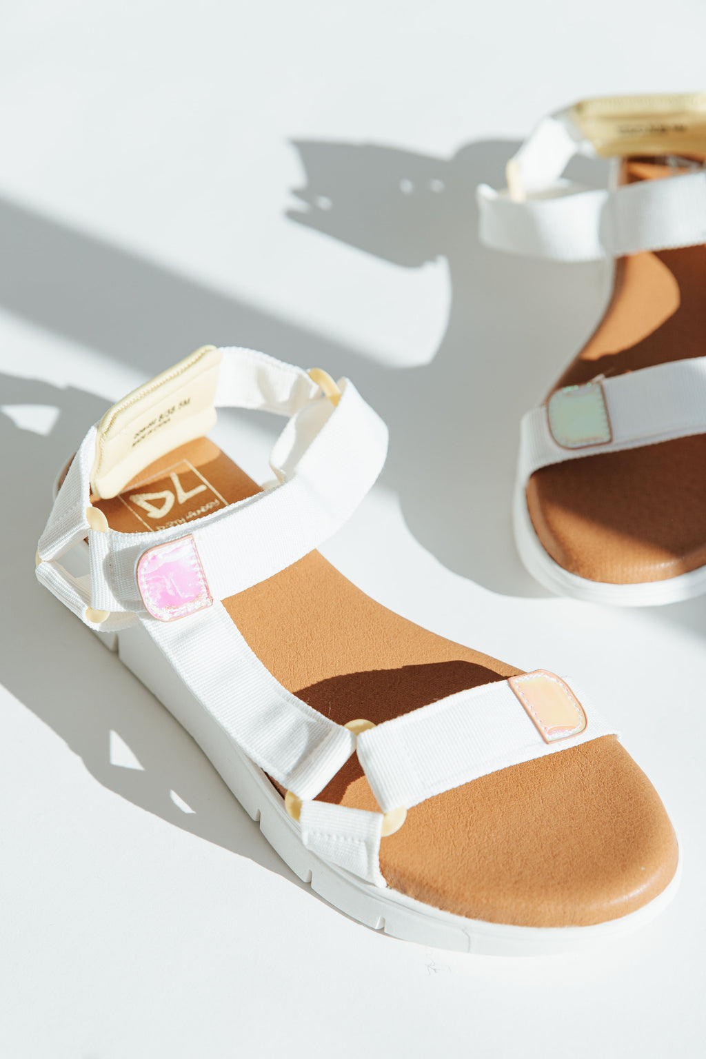 Chinese Laundry: The Qwest Strap Sandal in White, studio shoot; side view