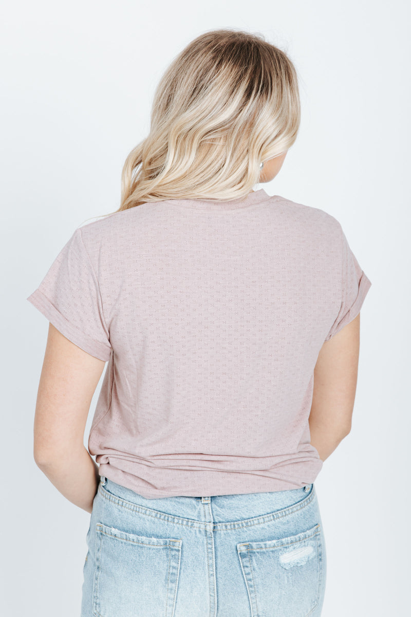 The Norman Tee in Dusty Lavender, studio shoot; back view