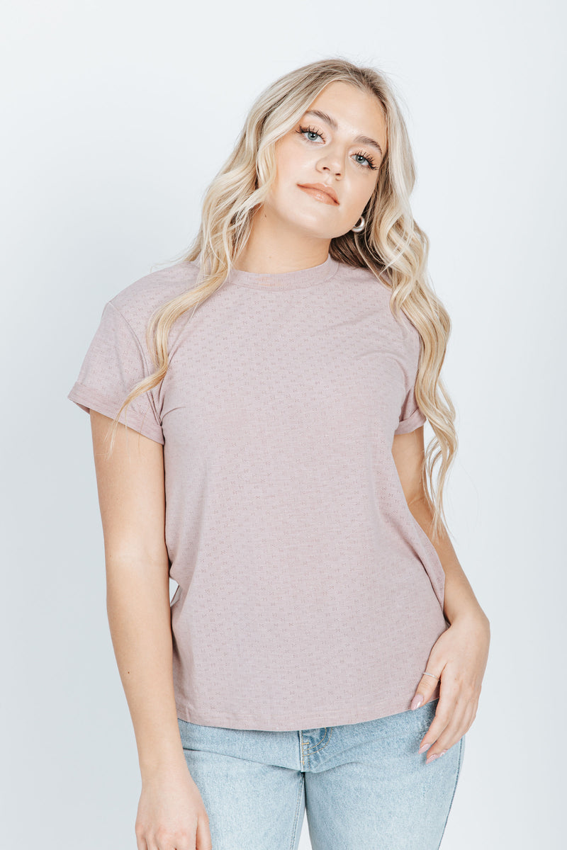 The Norman Tee in Dusty Lavender, studio shoot; front view