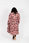 Piper & Scoot: The Stargaze Floral Flare Dress in Rose, studio shoot; back view