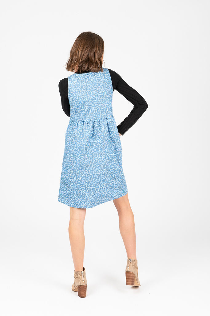 Piper & Scoot: The Amanda Floral Denim Jumper Dress in Chambray