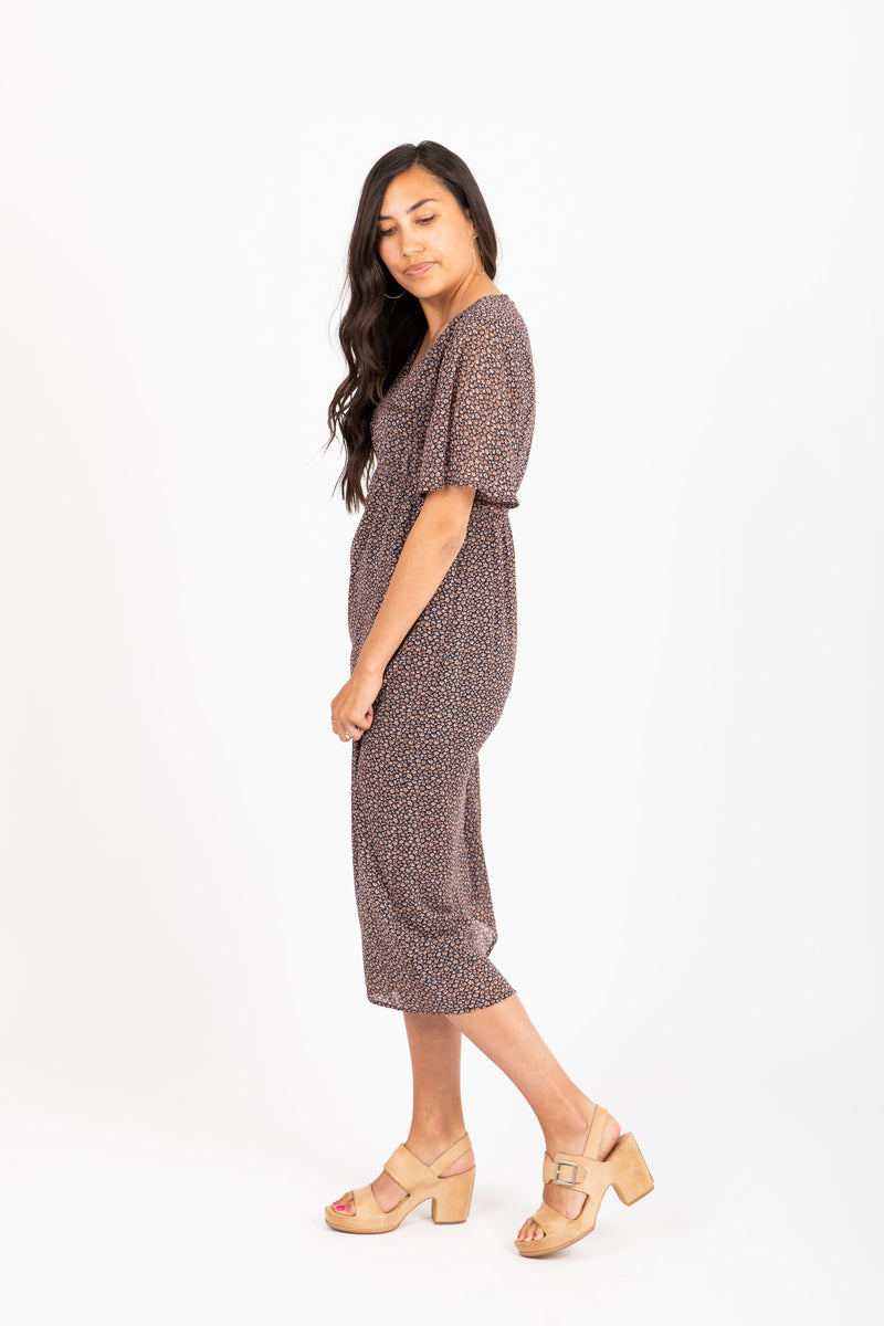 Piper & Scoot: The Brionna Patterned Maxi Dress in Brown