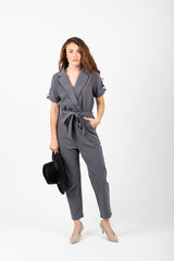 The Owen Collared Jumpsuit in Slate