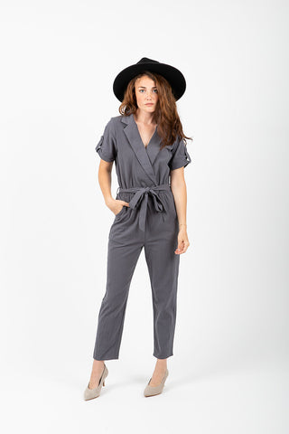The Bolton Patterned Tie Jumpsuit in Navy