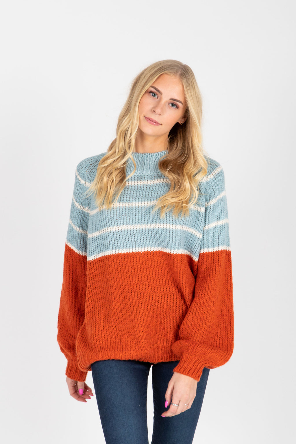 The Valeria Striped Block Sweater in Sky Combo, studio shoot; front view