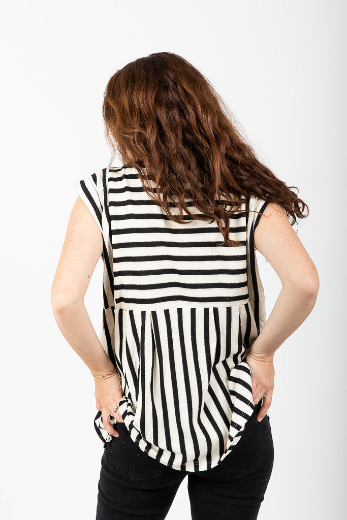The Folsom Striped Peplum in White