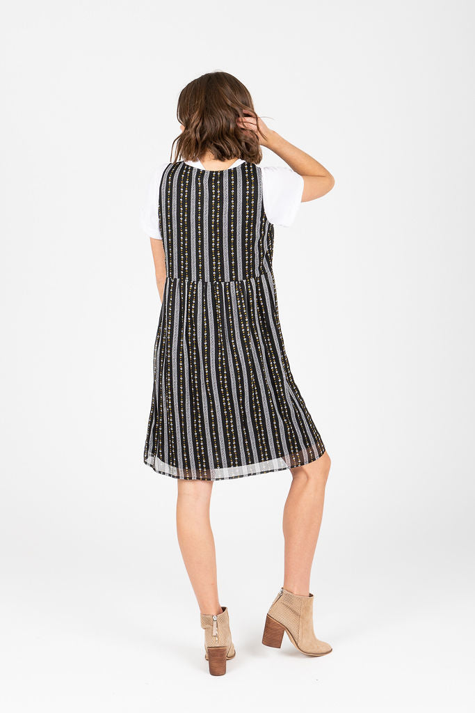 Piper & Scoot: The Elizabeth Patterned Jumper Dress in Black