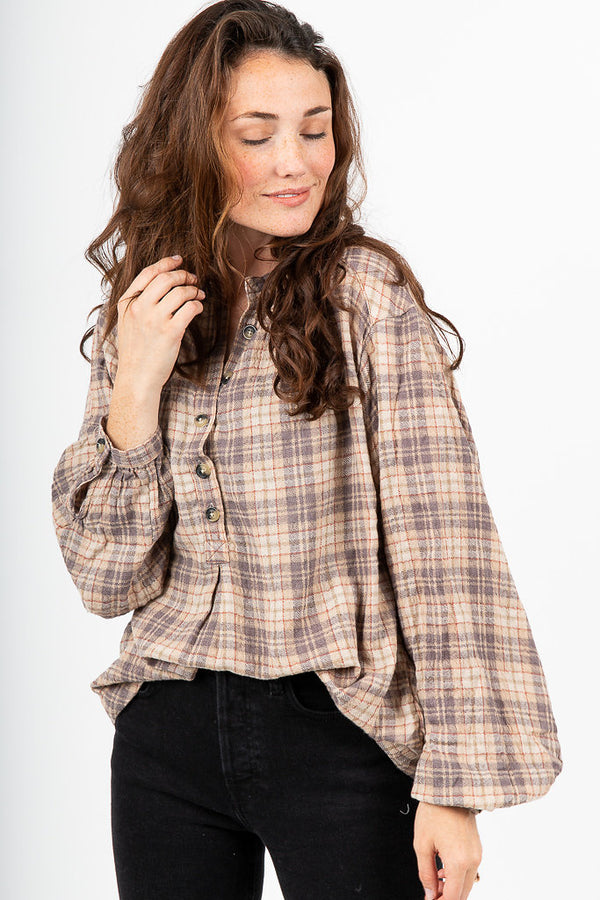 Free People: Northern Bound Button Down in Beige