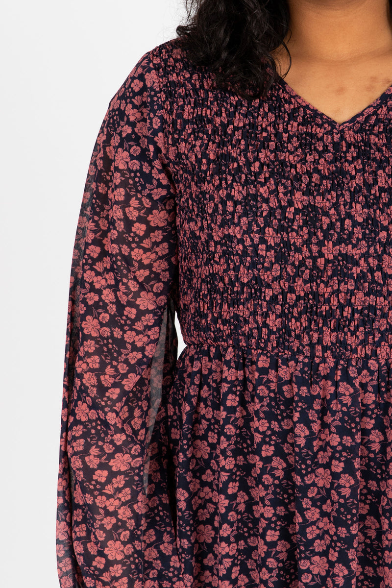 Piper & Scoot: The Emery Smocked Floral Dress in Navy + Rose, studio shoot; closer up front view