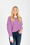 The Iris Speckled Sweater in Purple Combo, studio shoot; front view