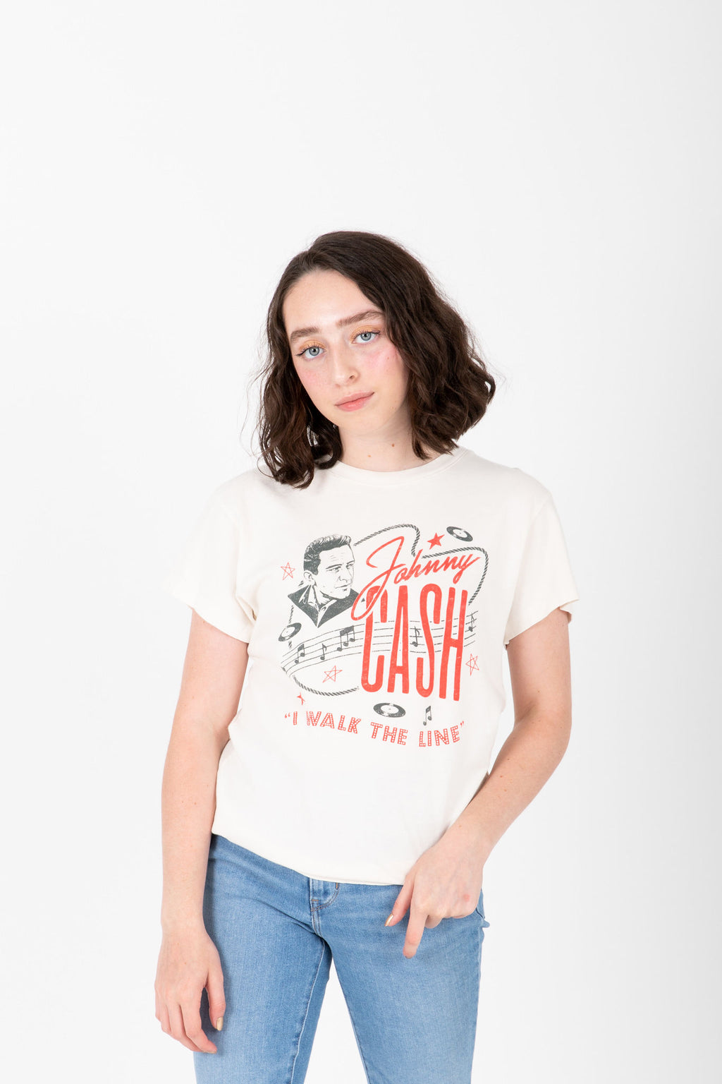 The Johnny Cash Walk The Line Tour Band Tee in Dirty White, studio shoot; front view