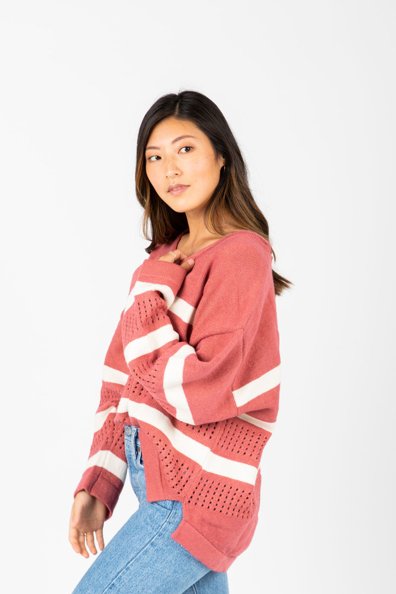 The Gina Striped Knit in Rose, studio shoot; side view