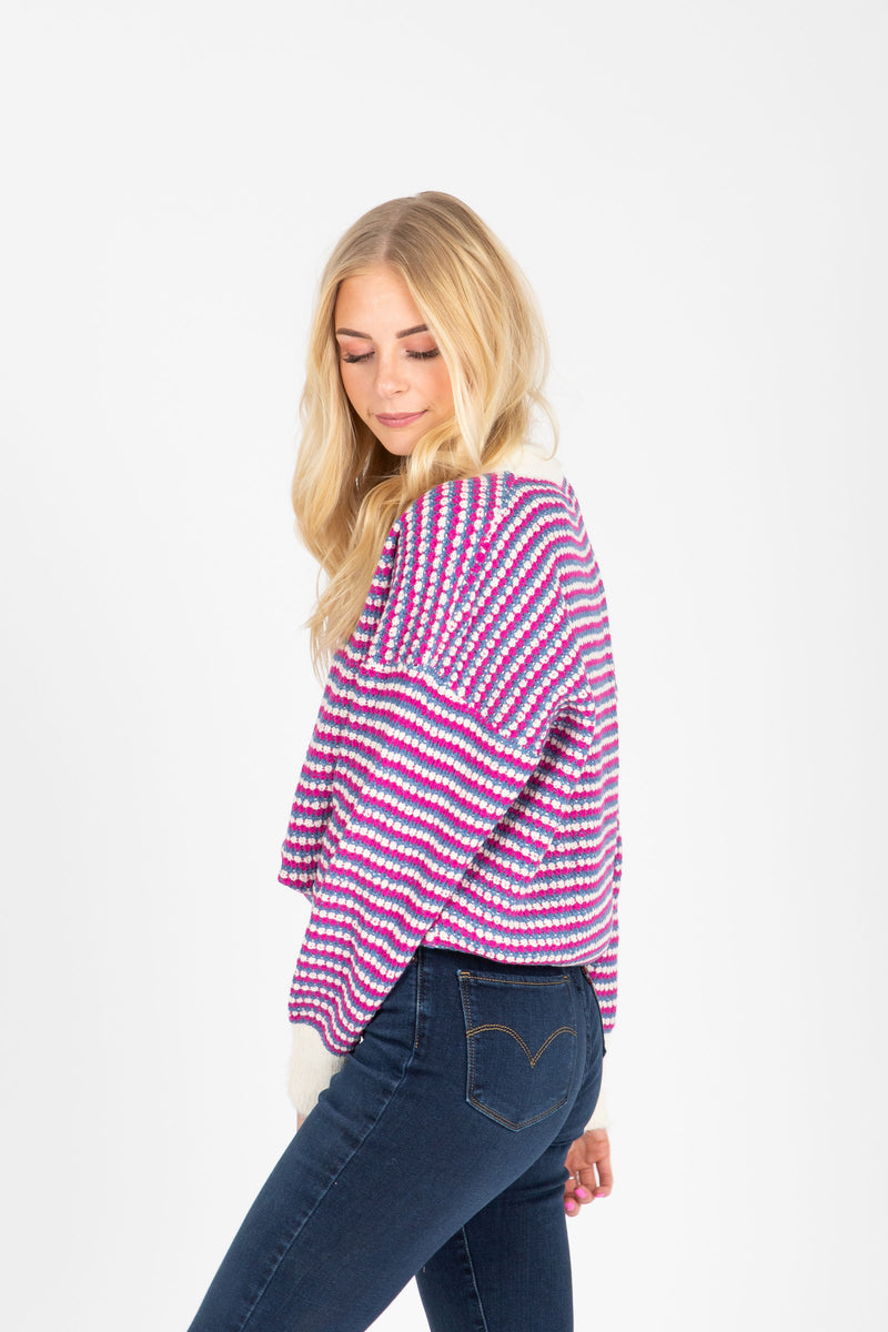 The Iris Speckled Sweater in Purple Combo, studio shoot; side view