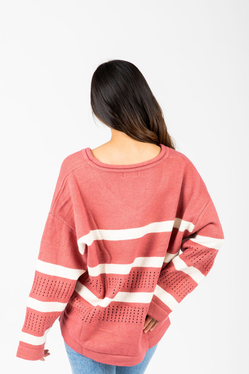 The Gina Striped Knit in Rose, studio shoot; back view