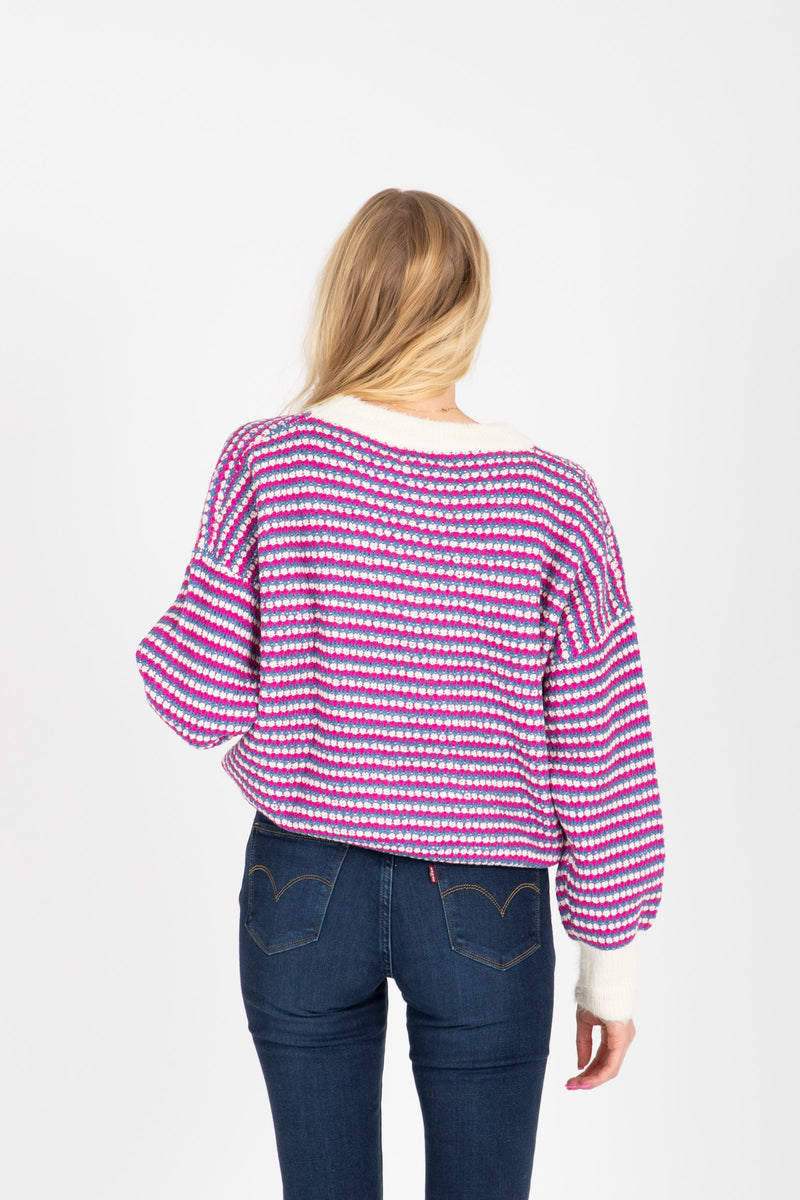 The Iris Speckled Sweater in Purple Combo, studio shoot; back view