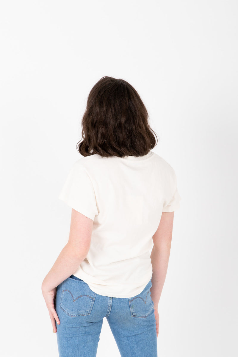 The Johnny Cash Walk The Line Tour Band Tee in Dirty White, studio shoot; back view
