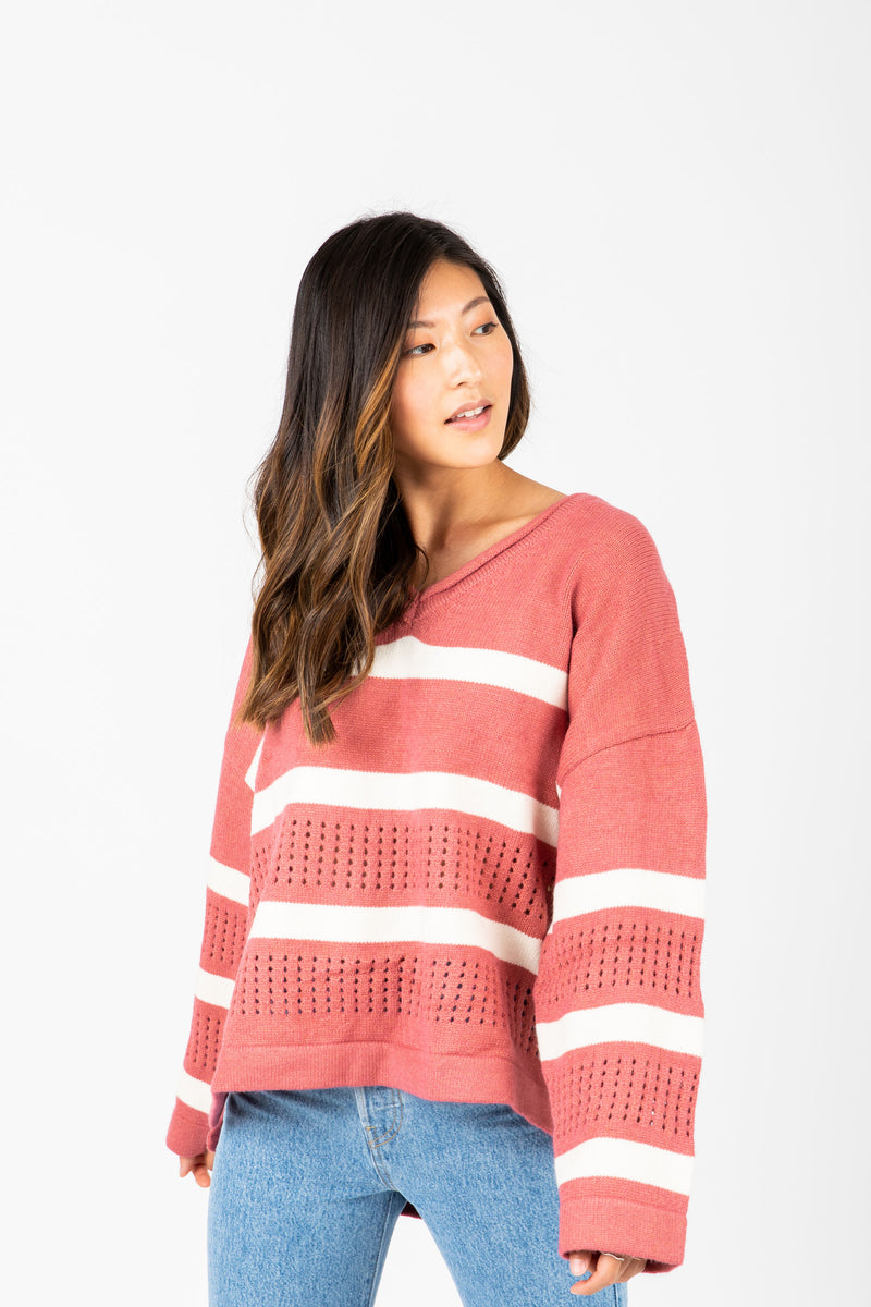 The Gina Striped Knit in Rose, studio shoot; front view