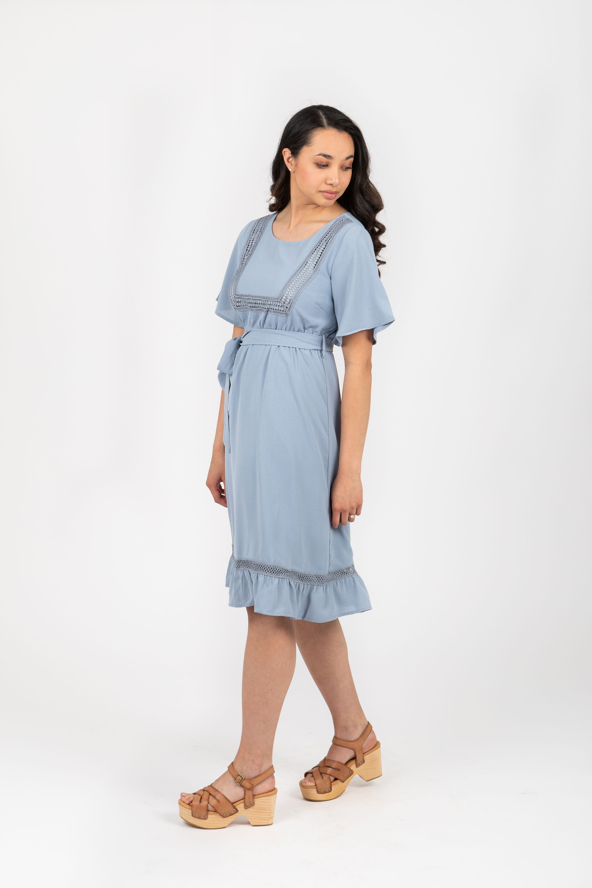 The Skyler Detail Ruffle Dress in Periwinkle
