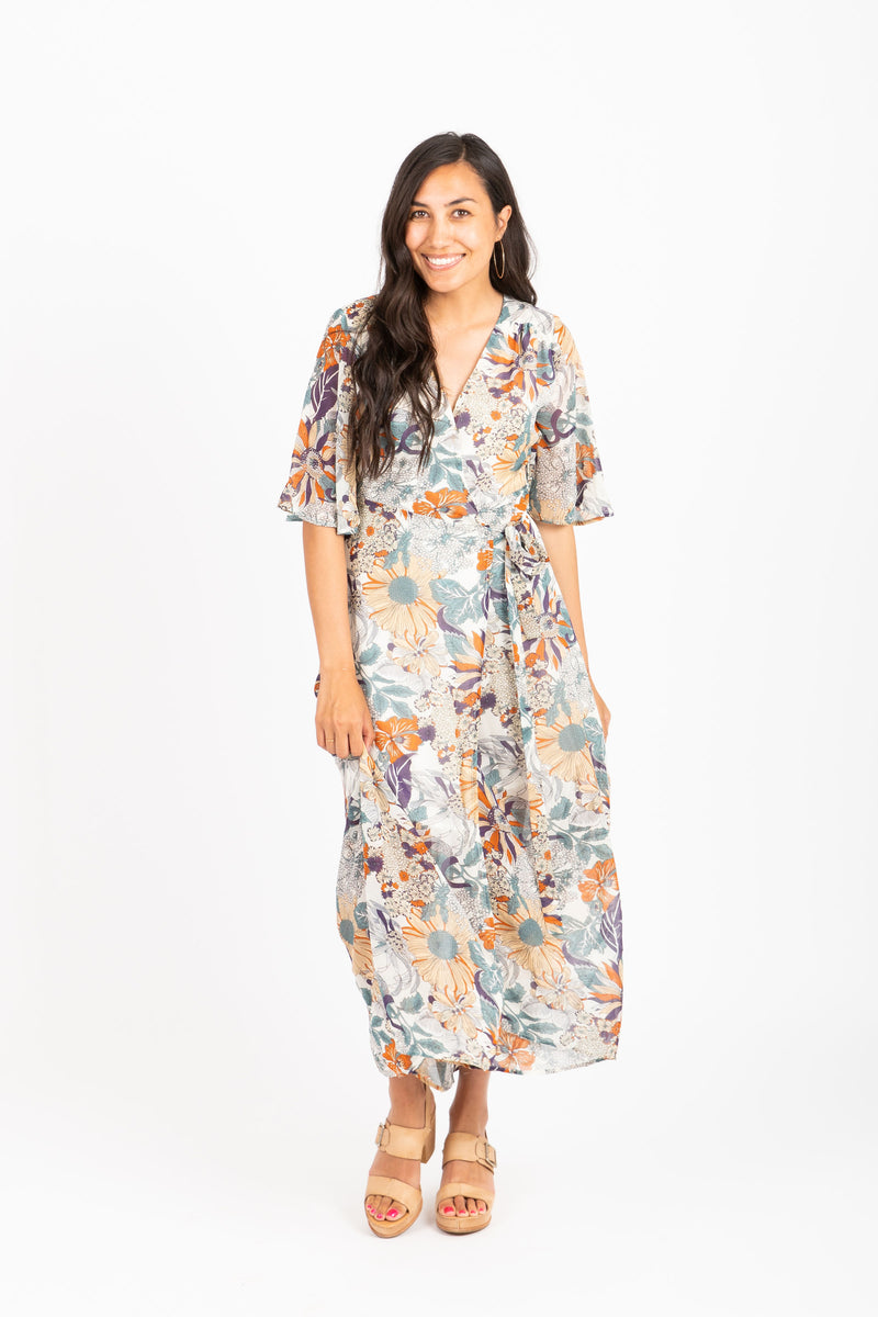 The Sail Floral Wrap Dress in Ivory Multi