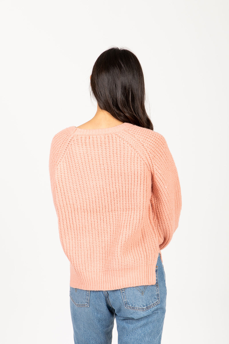 The Trail Crochet Sweater in Pink, studio shoot; back view
