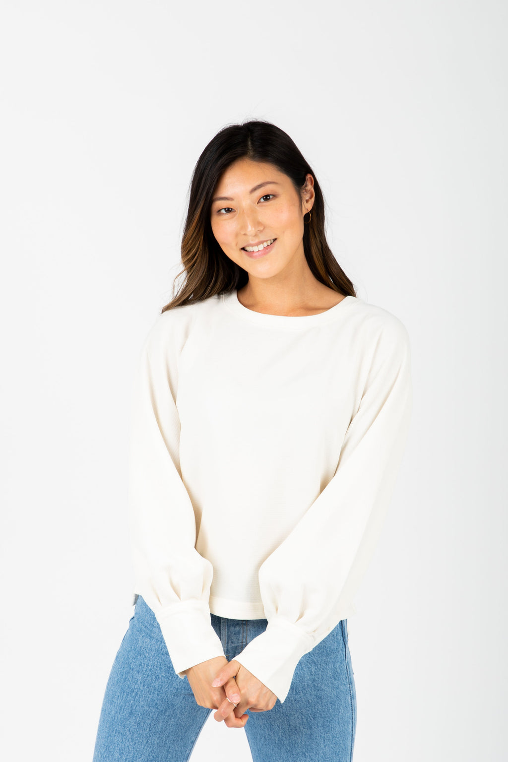 Levi's: Balloon Sleeve Blouse in Cream, studio shoot; front view