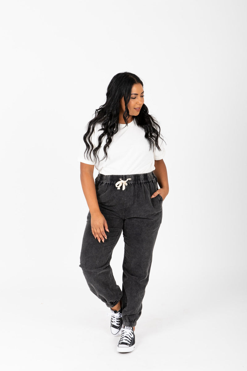 The Kravitz Washed Vintage Trouser in Black, studio shoot; front view
